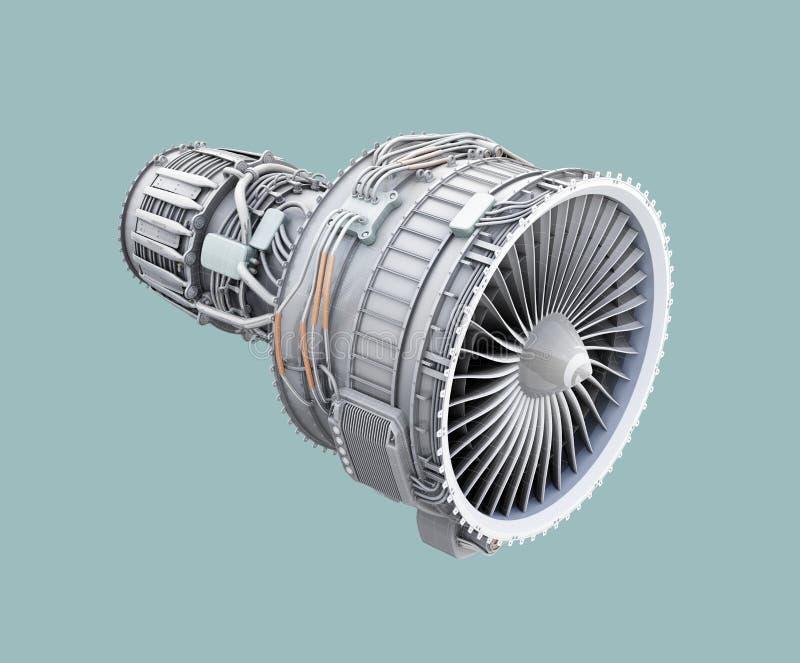3D wireframe黏土回报在绿色背景隔绝的涡轮风扇飞机引擎 皇族释放例证