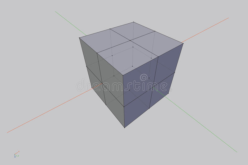 3D wireframe cube. Vector illustration royalty free illustration