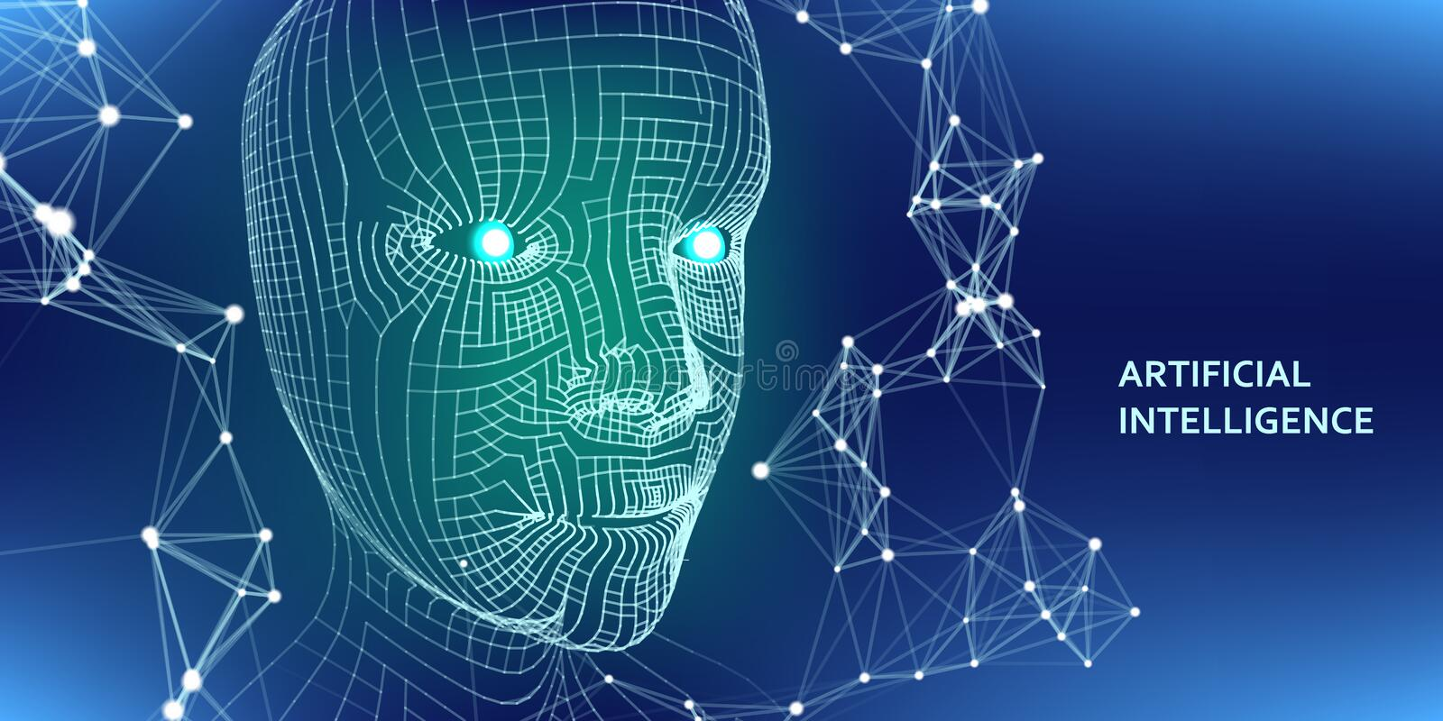 3d wireframe head. Artificial intelligence concept. Abstract digital grid human face. Vector illustration stock illustration