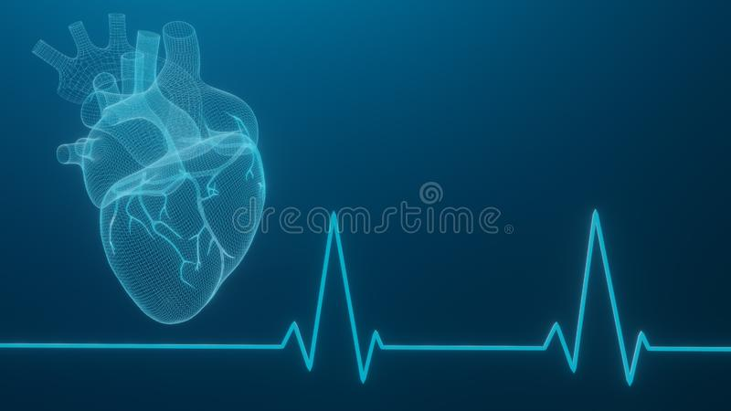 3D wireframe hearts render isolated white backgrounds, Abstract Heart icon form lines and triangles, point connecting network on royalty free illustration