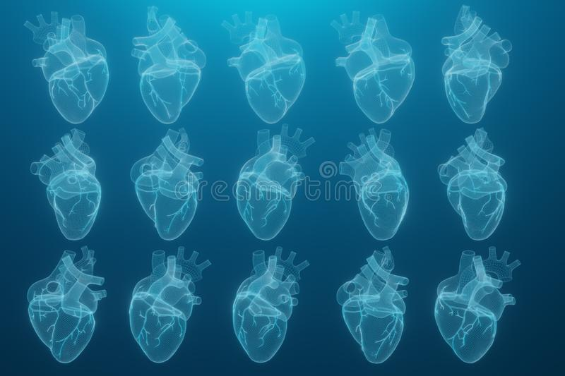 3D wireframe hearts render isolated white backgrounds, Abstract Heart icon form lines and triangles, point connecting network on stock illustration