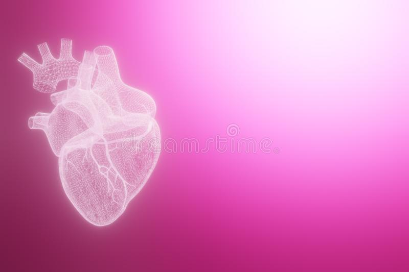 3D wireframe hearts render  white backgrounds, Abstract Heart icon form lines and triangles, point connecting network on vector illustration