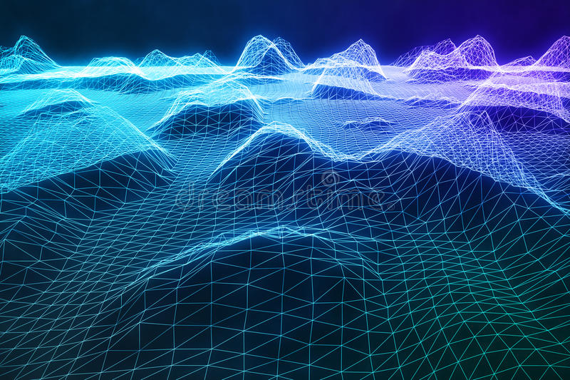 3D wireframe ilustracyjny abstrakcjonistyczny cyfrowy krajobraz Cyberprzestrzeni krajobrazowa siatka 3d technologia abstrakcjonis ilustracji