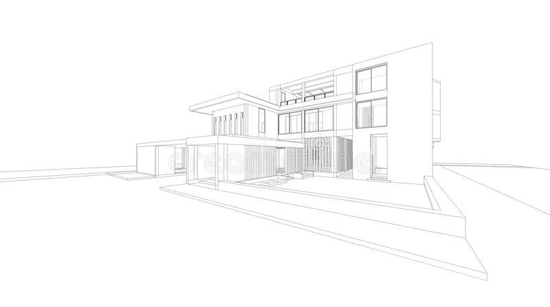 3D wireframe perspective render of house. royalty free illustration