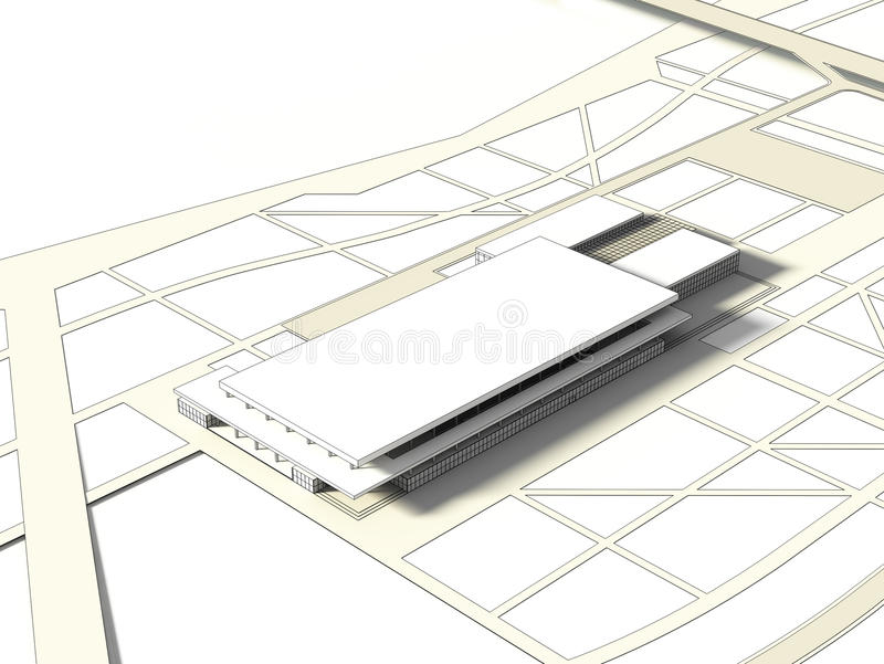3D wireframe pojęcie budynek royalty ilustracja
