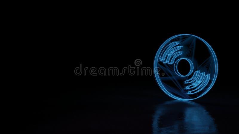 3d wireframe rozjarzony symbol symbol płyta kompaktowa 1 odizolowywająca na czarnym tle ilustracji
