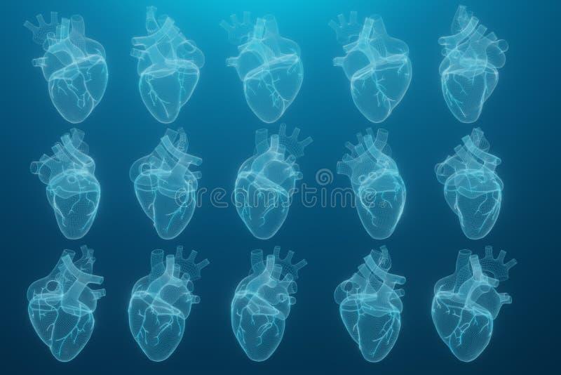 3D wireframe serca odp?acaj? si? odosobnionych bia?ych t?a, Abstrakcjonistyczne Kierowe ikony formy linie i tr?jboki, wskazuj? z? ilustracji