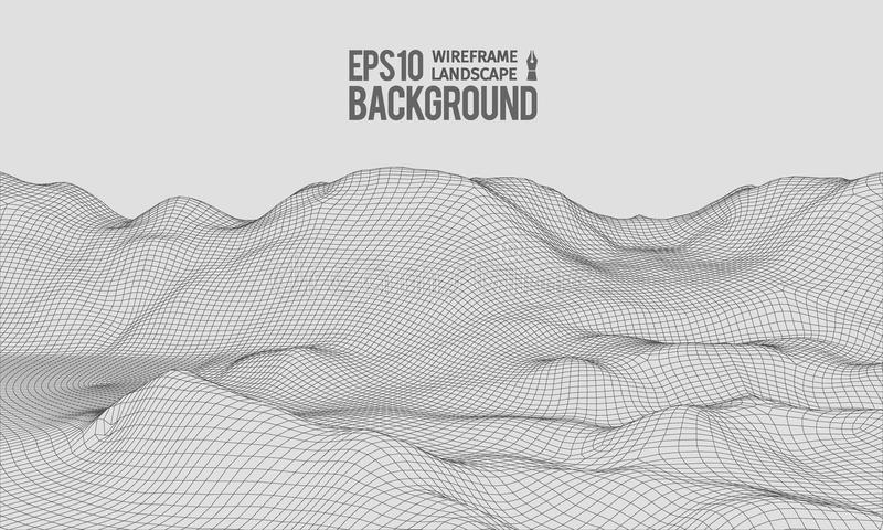 3D Wireframe Terrain Wide Angle EPS10 Vector stock illustration