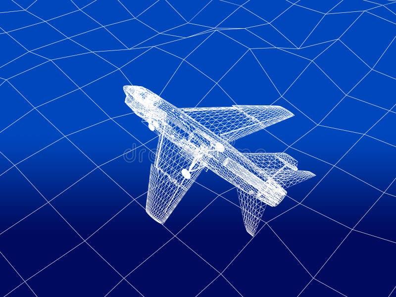 3D wireframe van gevechtsvliegtuigvliegen over een overzees vector illustratie
