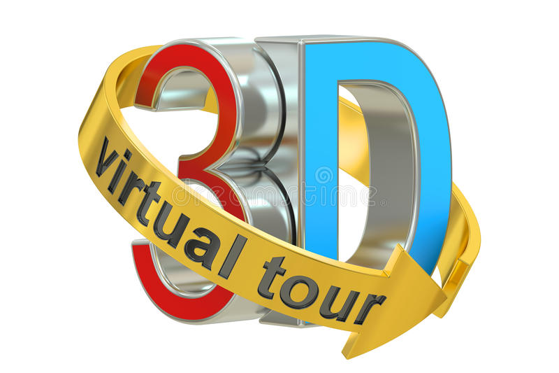 3D Wirtualnej wycieczki turysycznej pojęcie świadczenia 3 d royalty ilustracja