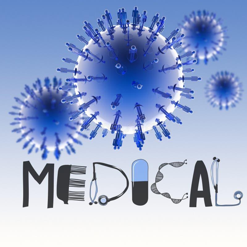 3d wirtualny wirusowy symbol i tekst projektujemy MEDYCZNEGO ilustracja wektor