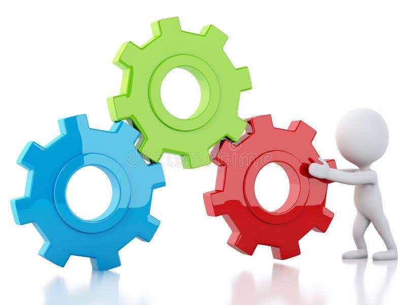3d Wit bedrijfsmensen en toestelmechanisme stock illustratie