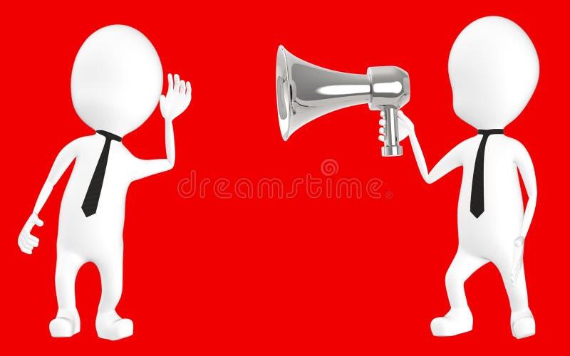 3d wit karakter die aan luide hailer luisteren royalty-vrije illustratie