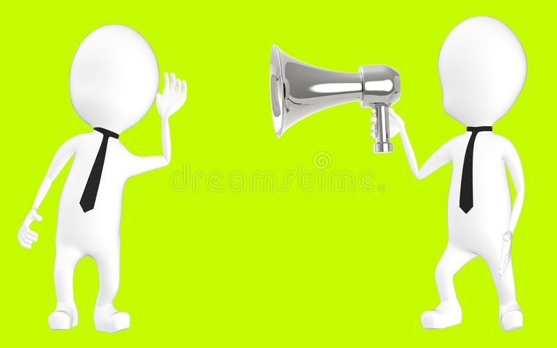 3d wit karakter die aan luide hailer luisteren stock illustratie