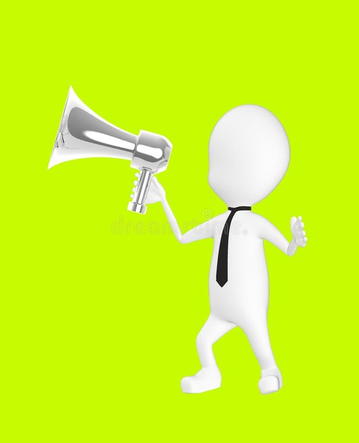 3d wit karakter die een luide spreker houden stock illustratie