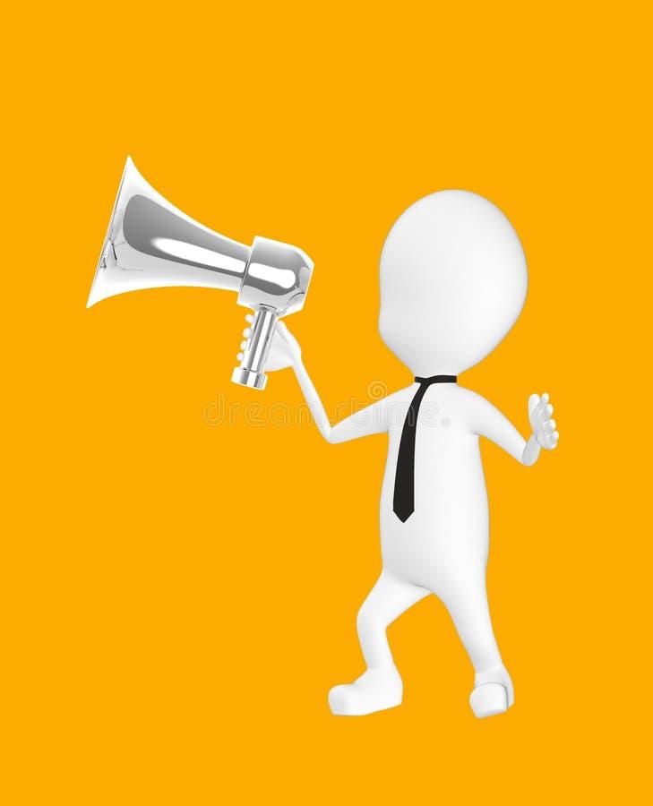 3d wit karakter die een luide spreker houden royalty-vrije illustratie
