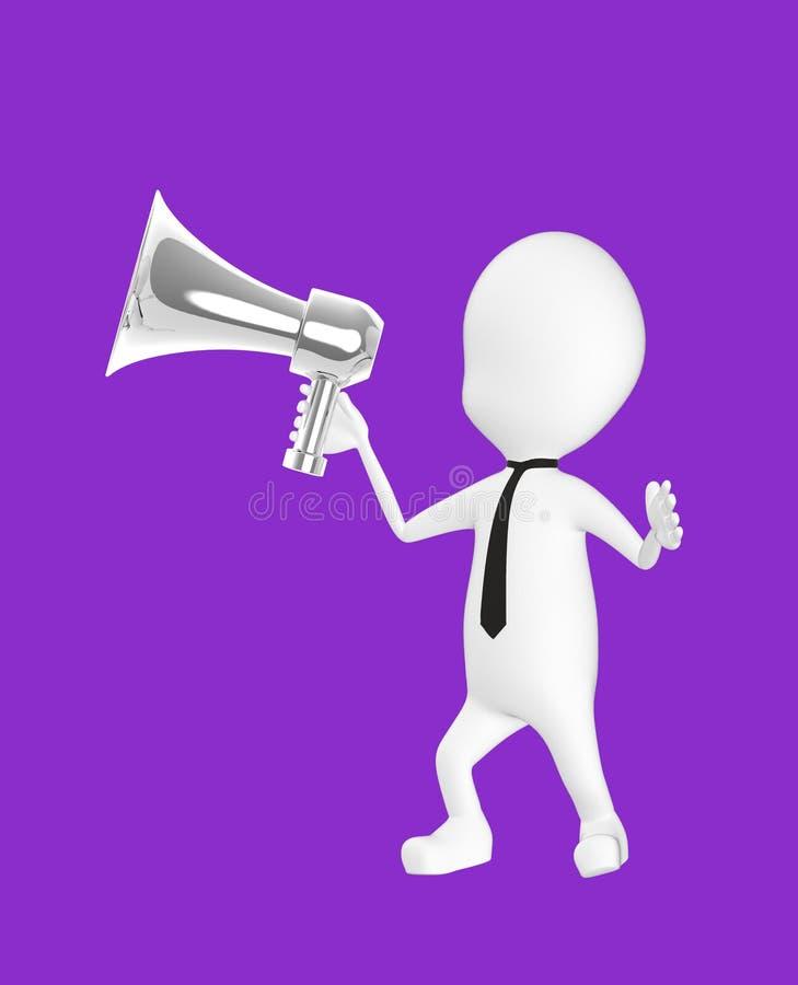 3d wit karakter die een luide spreker houden vector illustratie