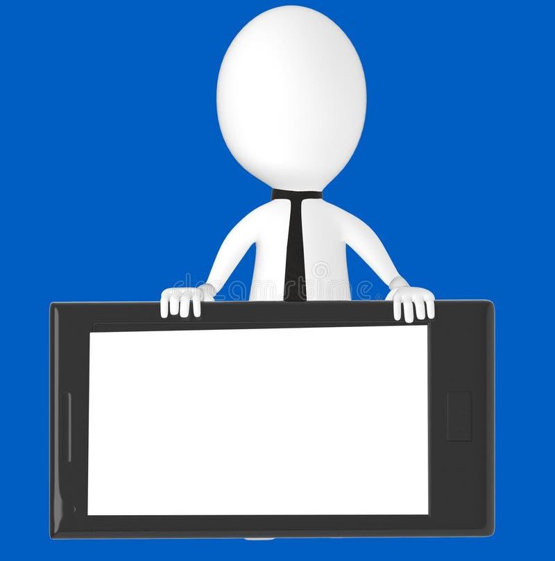 3d wit karakter die een smartphone voorstellen vector illustratie
