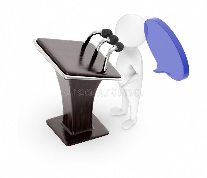 3d wit karakter die voor een houten podium met mics, lege toespraakbel boven zijn hoofd spreken royalty-vrije illustratie