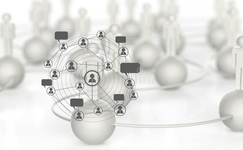 3d wit menselijk sociaal netwerk vector illustratie