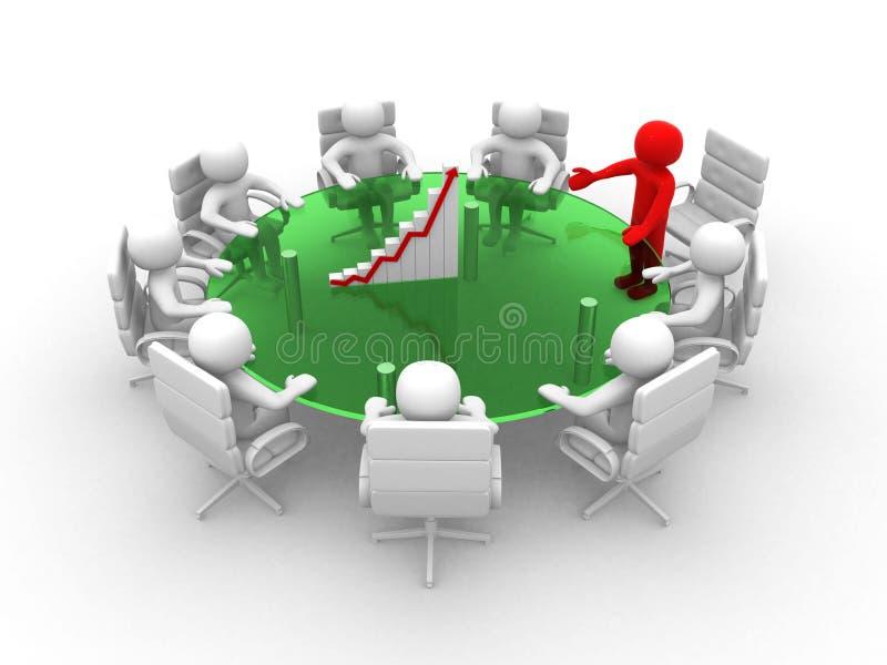 3d witte bedrijfspersoon in een vergadering met grafic. 3d beeld vector illustratie