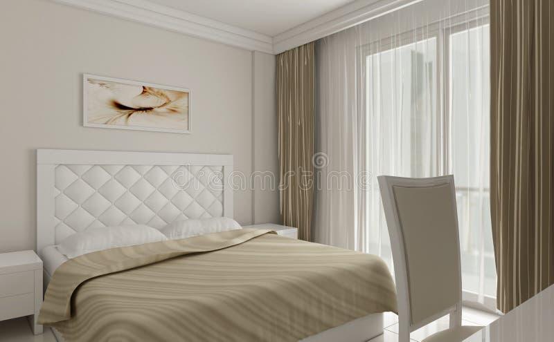 3d witte detail van het slaapkamerontwerp royalty-vrije stock afbeelding