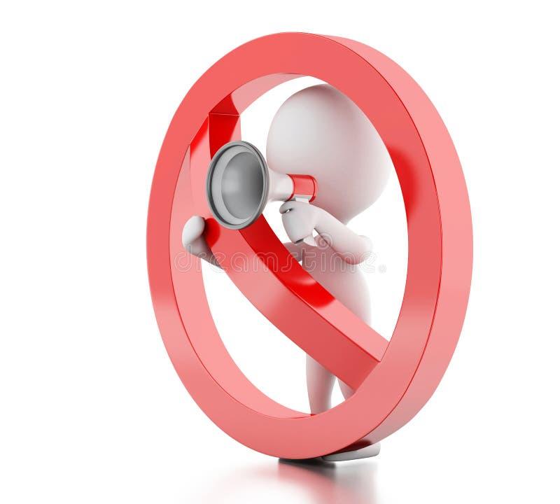 3d Witte die mensen met megafoon door een verboden teken wordt omringd stock illustratie