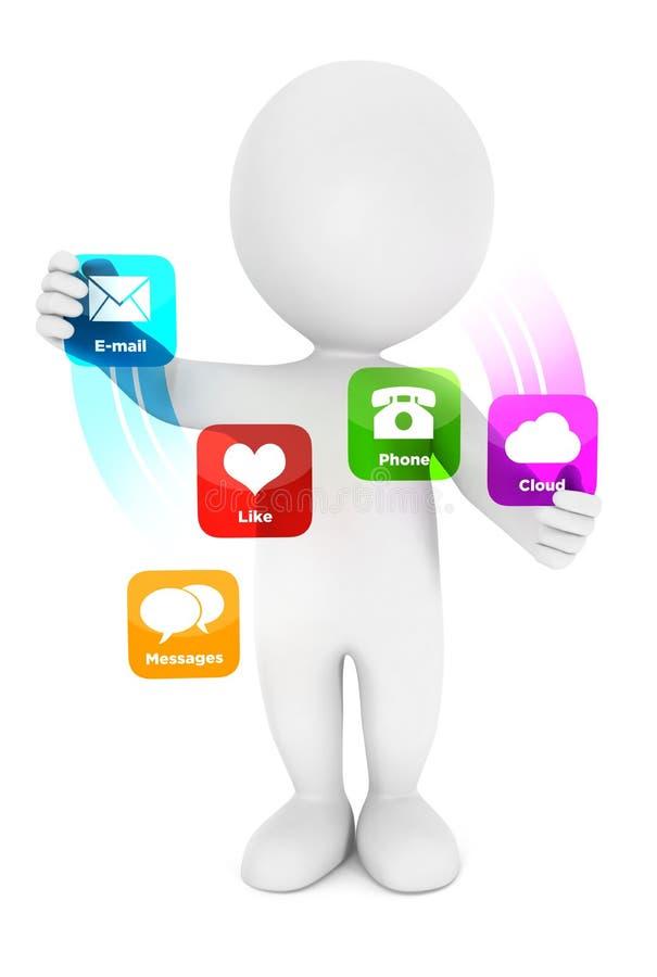 3d witte interface van mensentoepassingen stock illustratie