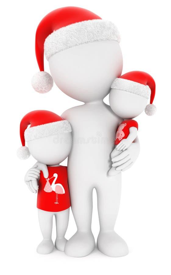 3d witte Kerstmis van de mensenfamilie stock illustratie