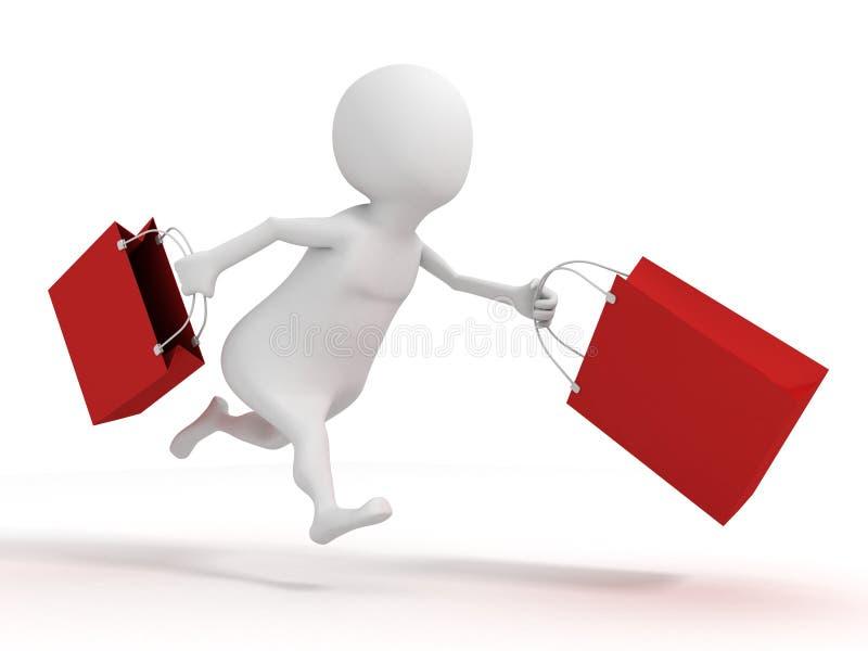 3d witte mens die met rode het winkelen verkoopzakken lopen royalty-vrije illustratie