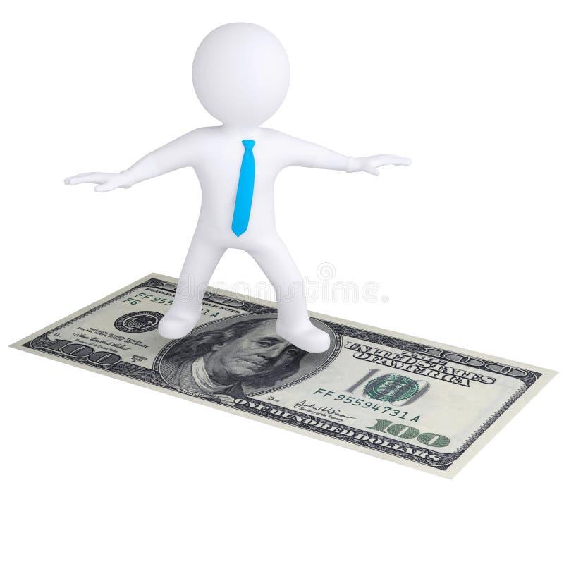 3d witte mens die op de dollarrekening vliegen vector illustratie