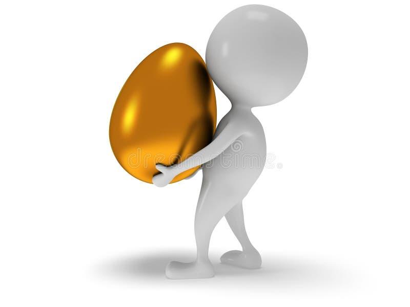 Download 3d Witte Mens Draagt Gouden Ei Stock Illustratie - Illustratie bestaande uit tribune, pictogram: 39105570