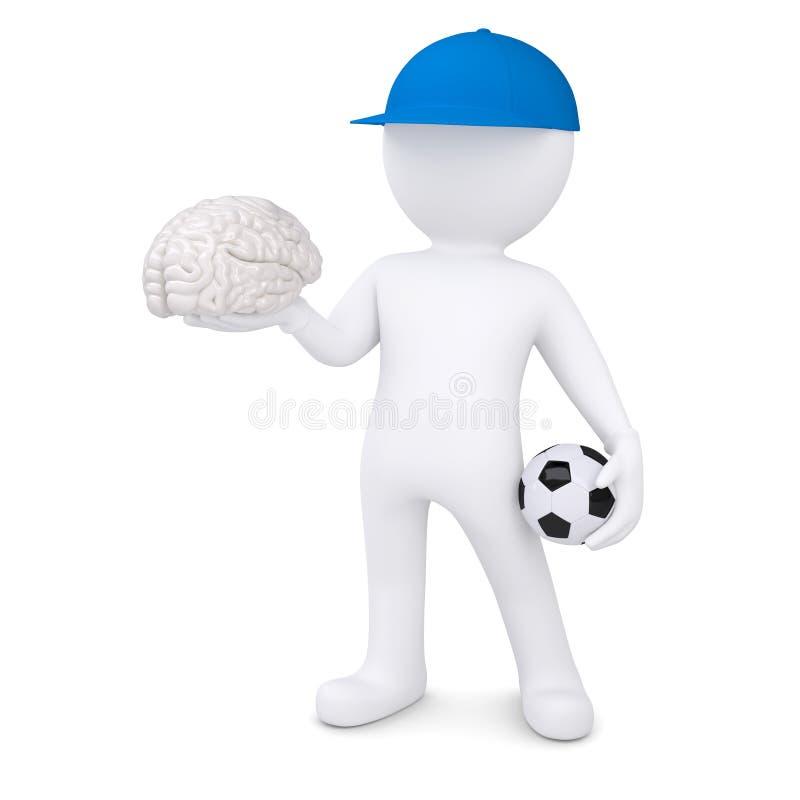 3d witte mens met voetbalbal en de hersenen stock illustratie