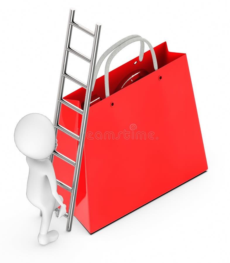 3d witte mensen beklimmen omhoog met behulp van een ladder naar een het winkelen zak stock illustratie