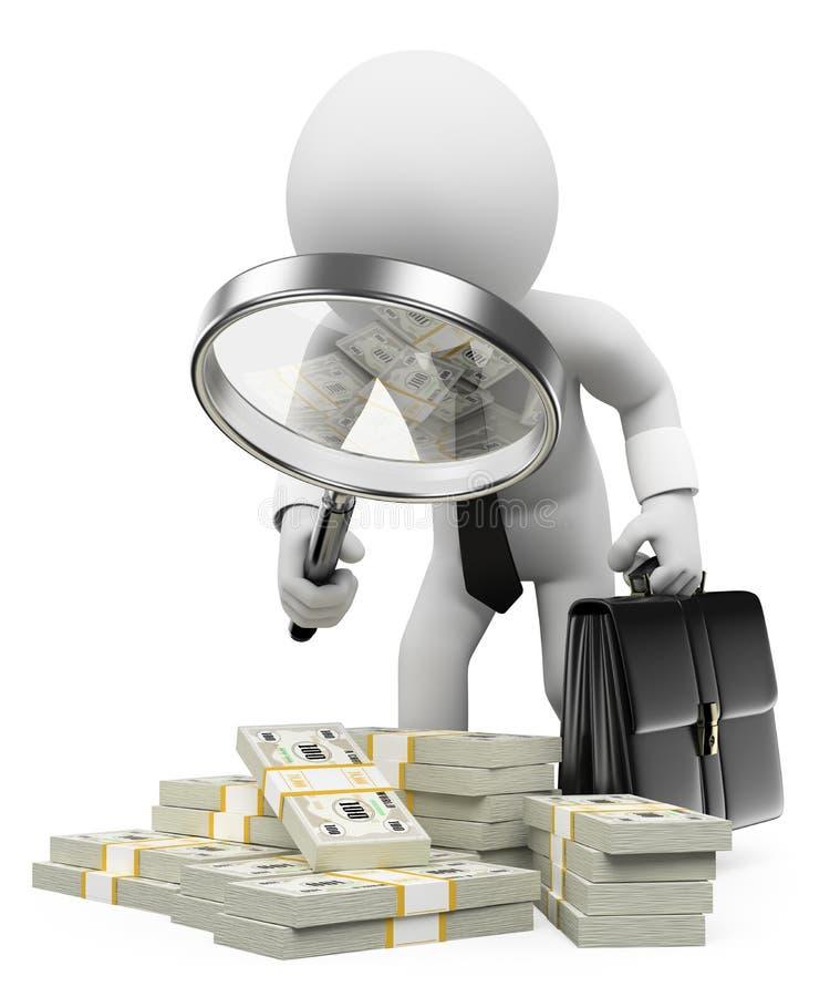 3d witte mensen Belastingsinspecteur met vergrootglas stock illustratie