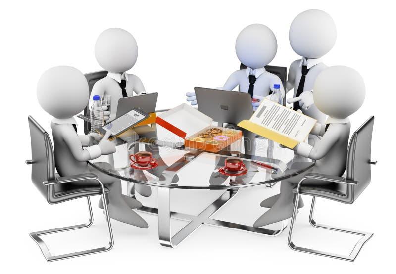 3d witte mensen Commerciële informele vergadering stock illustratie