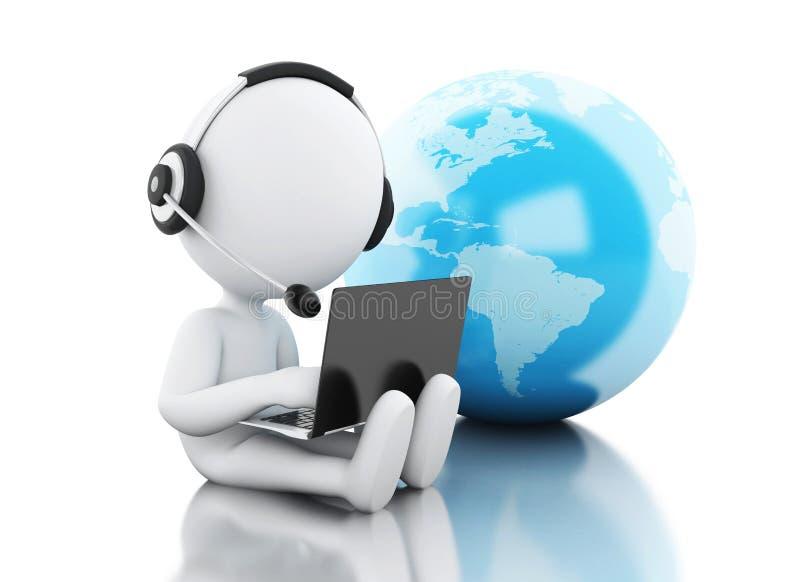 3d Witte mensen die aan laptop werken Groeten over de Wereld stock illustratie