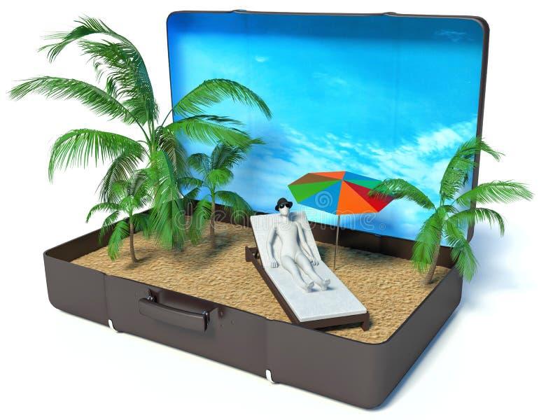 3d witte mensen in een kofferparadijs, witte backgroun stock illustratie