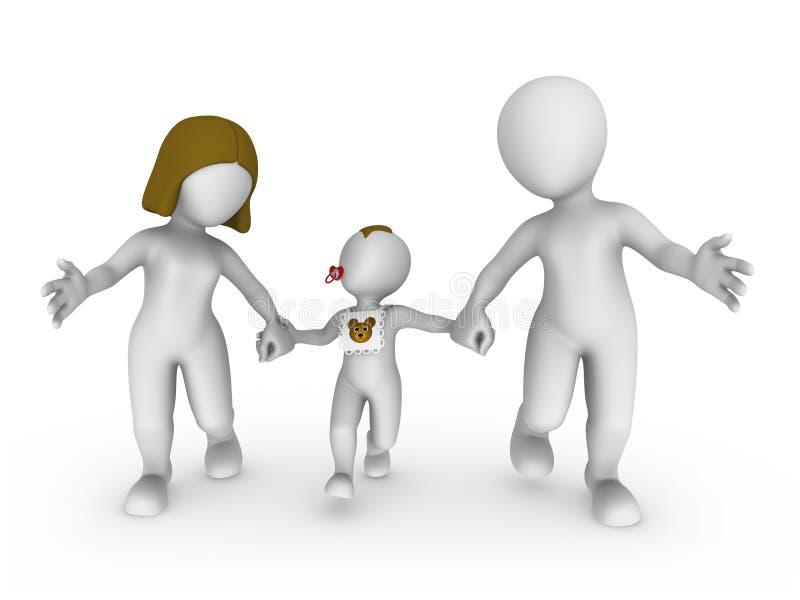 3d witte mensen, gelukkige familie royalty-vrije illustratie