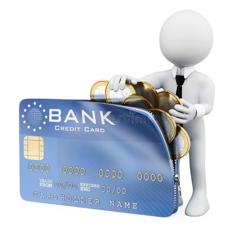 3d witte mensen Mens die een creditcardhoogtepunt van euro muntstukken openen vector illustratie