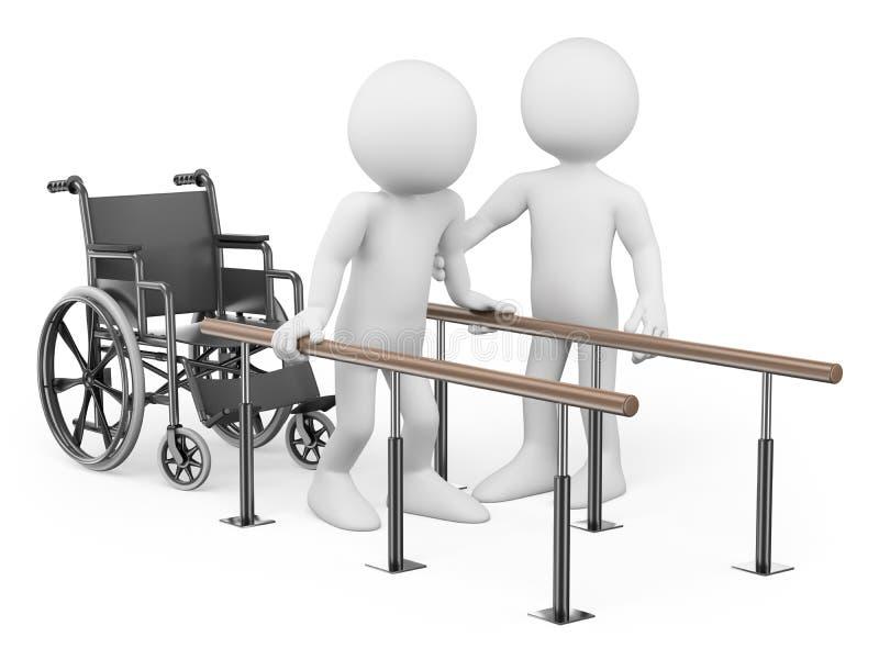 3D witte mensen. Mens die van zijn verwonding terugkrijgen royalty-vrije illustratie