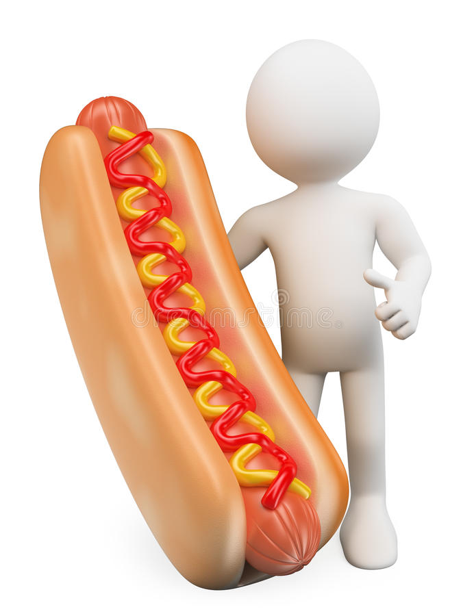 3d witte mensen Mens met een hotdog met ketchup en mosterd stock illustratie