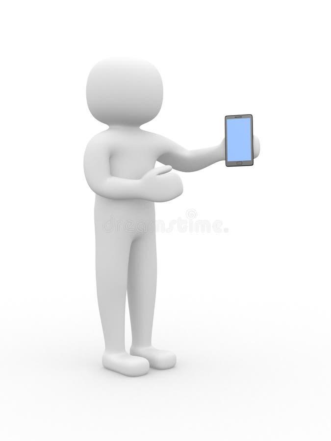 3d witte mensen met een smartphone, geïsoleerde witte achtergrond vector illustratie