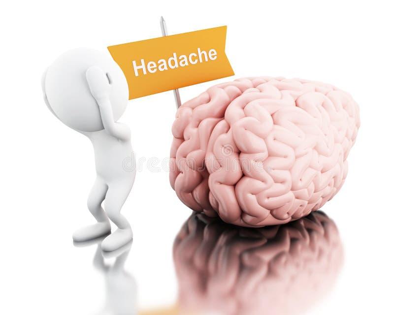 3d witte mensen met hoofdpijn stock illustratie