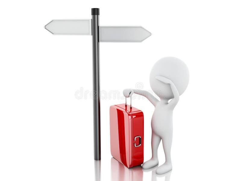 3d witte mensen met reiskoffer en lege verkeersteken vector illustratie