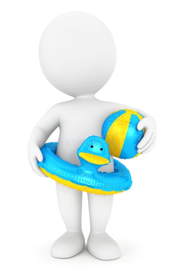 3d witte mensen met zwemmen ring en een bal royalty-vrije illustratie