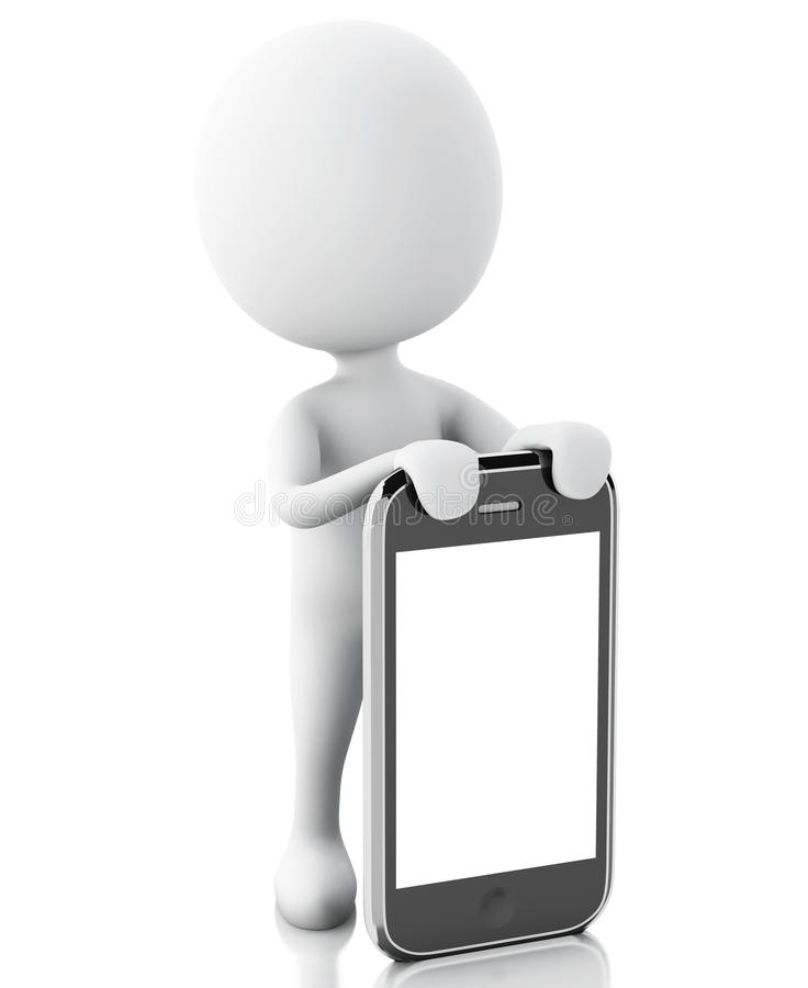 3d witte mensen naast smartphone royalty-vrije illustratie