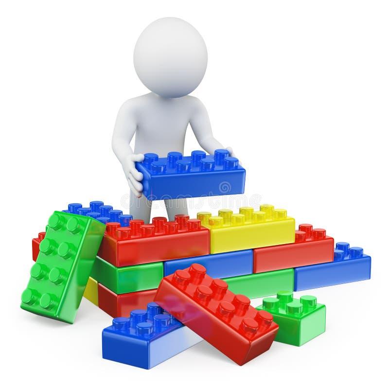 3D witte mensen. Plastic stuk speelgoed blokken vector illustratie