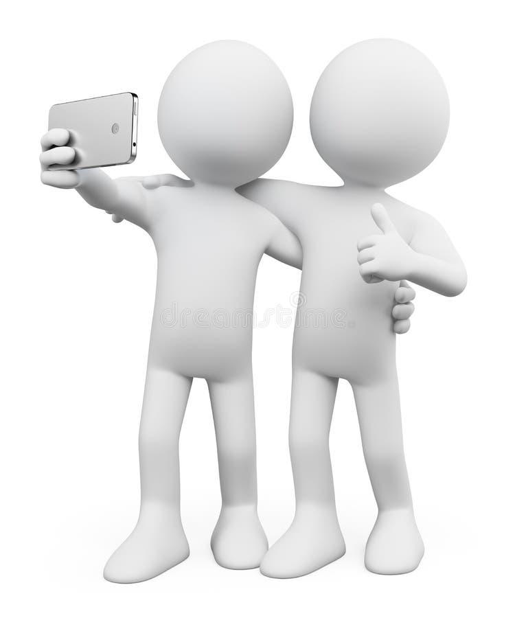 3d witte mensen Selfie met een vriend vector illustratie