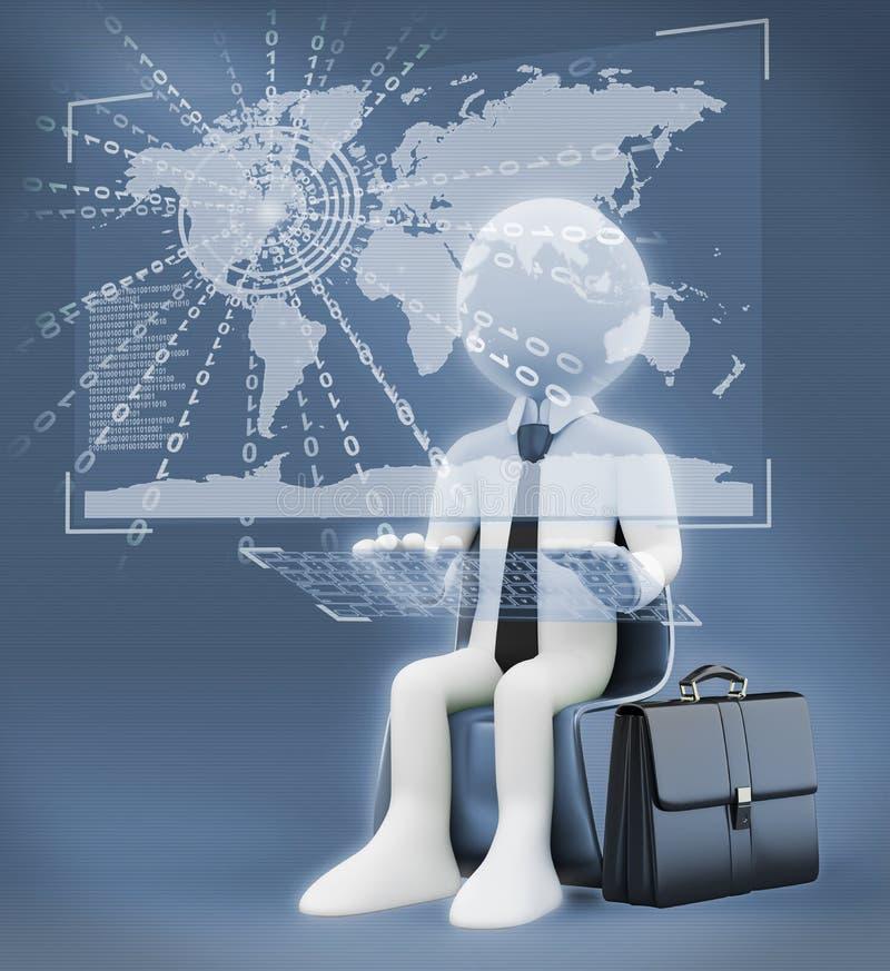 3d witte mensen Virtuele globale wereldzaken vector illustratie